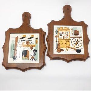 Vintage 60's 70's Tile & Wood Trivet or Wall Decor